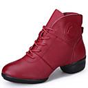זול Dance Boots-בגדי ריקוד נשים נעליים מודרניות / מגפי ריקוד עור מגפיים / סוליה חצויה שרוכים עקב נמוך ללא התאמה אישית נעלי ריקוד שחור / אדום