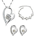 cheap Jewelry Sets-Women's Crystal Link / Chain Jewelry Set - Sterling Silver, Crystal, Gold Plated Heart, Love Fashion Include Bridal Jewelry Sets White For Party / Casual / Valentine / Earrings / Necklace