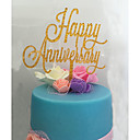 cheap Fans & Parasols-Cake Topper Classic Theme Monogram Acrylic Anniversary with Flower 1 OPP