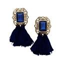 abordables Pendientes-Mujer Cristal Borla Pendientes colgantes - Brillante, Chapado en Oro Borla, Vintage, Bohemio Azul / Rosa / Arco iris Para Boda / Fiesta / Casual