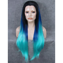 cheap Synthetic Lace Wigs-imstyle 30cheap smooth extra long straight lace wig synthetic blue ombre black root