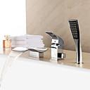 abordables Grifos de Bañera-Grifo de bañera - Moderno Cromo Bañera romana Válvula Cerámica