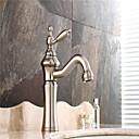 billige kropp Massører-Baderom Sink Tappekran - Forskyll / Utbredt / Roterbar Nikkel Børstet Centersat Enkelt håndtak To HullerBath Taps