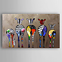 cheap People Paintings-Hand-Painted Canvas Animal Oil Painting Colorful Zebra Modern Art Stretched Ready To Hang