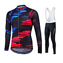 cheap Cycling Pants, Shorts, Tights-Fastcute Men's / Women's Long Sleeve Cycling Jersey Plus Size Bike Clothing Suit, Breathable, 3D Pad, Thermal / Warm, Quick Dry, Fleece Lining, Winter, Polyester, Velvet, Fleece Sports / Stretchy
