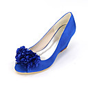 cheap Wedding Shoes-Women's Shoes Satin Spring / Summer Basic Pump Wedding Shoes Null Wedge Heel Peep Toe Null Appliques Blue / Champagne / Ivory