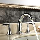 رخيصةأون حنفيات مغاسل الحمام-معاصر الحديث واسع الأنتشار واسع الانتشار صمام سيراميكي مقبضين ثلاثة ثقوب الكروم, بالوعة الحمام الحنفية