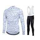 cheap Running Shirts, Pants & Shorts-Fastcute Men's Long Sleeve Cycling Jersey with Bib Tights - White Plus Size Bike Jersey / Tights / Bib Tights, Breathable, 3D Pad, Quick Dry, Sweat-wicking Polyester, Lycra Lines / Waves / Stretchy