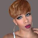 billige Lågløs-Human Hair Capless Parykker Menneskehår Naturligt, bølget hår Frisure i lag Med bangs / pandehår Kort Paryk Dame