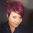 billige Lågløs-Human Hair Capless Parykker Menneskehår Lige Pixie frisure / Med bangs / pandehår Side del Kort Paryk Dame / Ret
