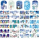 cheap Nail Stickers-12Designs/set Water Transfer Sticker / Christmas Ornaments / Nail Sticker Nail Decals / Christmas Stickers