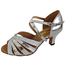 cheap Latin Shoes-Women's Latin Shoes / Salsa Shoes Leatherette Sandal Customized Heel Customizable Dance Shoes Black / Silver / Gold / Indoor / Practice
