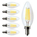 cheap LED Filament Bulbs-6pcs 380lm E12 LED Filament Bulbs C35 4 LED Beads COB Dimmable Warm White 110-130V