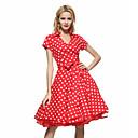 cheap Men's Accessories-Women's Plus Size Work Vintage Cotton Swing Dress - Polka Dot Red, Print Shirt Collar