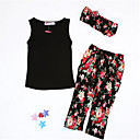 cheap Girls' Clothing Sets-Toddler Girls' Active Daily Floral Bow Sleeveless Short Clothing Set Black 3-4 Years(110cm)