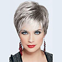 cheap Human Hair Capless Wigs-Human Hair Capless Wigs Human Hair Straight Layered Haircut Dark Roots / Side Part / With Bangs Silver / Black / Blonde Short Wig Women's