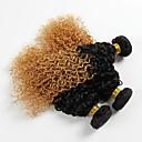 abordables Extensiones de Color Degradé-3 paquetes Cabello Brasileño Rizado / Ondulado Medio Cabello Virgen Ombre 18 pulgada Cabello humano teje Extensiones de cabello humano