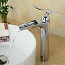 baratos Duchas & Acessórios-Torneira pia do banheiro - Pré Enxaguada / Cascata / Separada Cromado Conjunto Central Monocomando e Uma AberturaBath Taps