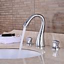 tanie Baterie łazienkowe-zlew kran zlewu - przedpłukanie / wodospad / szeroki zestaw chromowany dwa uchwyty trzy otwory w wannie