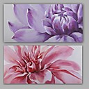 cheap Abstract Paintings-Oil Painting Hand Painted - Floral / Botanical Realism / Modern Stretched Canvas