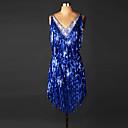 cheap Latin Dance Wear-Latin Dance Dresses Women's Performance Spandex Tassel / Crystals / Rhinestones Sleeveless Natural Dress