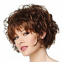 cheap Shoulder Bags-capless short curly fluffy full side bang synthetic wigs for women brown heat resistant with free hair net