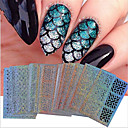 billige Hollow Nail Stickers-24 pcs Folie Sticker Bærbar / Geometrisk mønster / Negle Dekaler Nail Art Tool