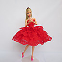 cheap Apparel For Barbie-Party/Evening Dresses For Barbie Doll Lace Satin Dress For Girl's Doll Toy