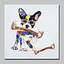 baratos Quadros com Moldura-Pintados à mão Animal / Pop Pinturas a óleo,Modern 1 Painel Tela Hang-painted pintura a óleo For Decoração para casa