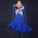 baratos Artigos para Cílios-Dança Latina Vestidos Mulheres Espetáculo Elastano / Organza Fru-Fru / Flor / Recortes Manga Longa Alto Vestido