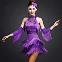 זול הלבשה לריקודים לטיניים-ריקוד לטיני שמלות בגדי ריקוד נשים הדרכה חוטי זהורית / ספנדקס חרוזים / תחרה / פרנזים ללא שרוולים טבעי שמלה / צמיד