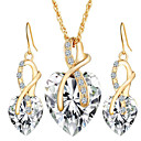 cheap Religious Jewelry-Women's Crystal / Synthetic Diamond Jewelry Set - Crystal Heart, Love European, Elegant, Bridal Include Drop Earrings / Pendant Necklace Red / Green / Blue For Wedding / Party / Gift