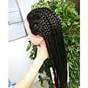 billige Ombre hairextensions-Syntetisk blonder foran parykker Afro Flett Syntetisk hår Varme resistent / Til fargede kvinner / Afrikanske fletter Svart Parykk Dame Lang Blonde Forside Svart