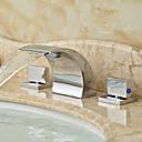 baratos Torneiras de Banheiro-Válvula de cerâmica cachoeira difundida moderna duas alças de três furos cromo, banheiro torneira da pia torneiras de banho