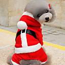 billige Kjære julekostymer-Kat / Hund Kostume / Hettegensere Hundeklær Ensfarget Rød Polar Fleece Kostume For kjæledyr Herre / Dame Jul