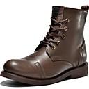 baratos Botas Masculinas-Homens Fashion Boots Pele Napa Primavera / Verão / Outono Conforto Botas Preto / Castanho Escuro / Festas & Noite