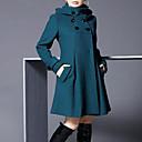 cheap Women's Boots-Women's Vintage Fall Long Coat, Solid Colored Round Neck Long Sleeve Gray / Purple / Green XXL / XXXL / XXXXL