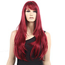 cheap Human Hair Capless Wigs-Synthetic Wig Wavy With Bangs Synthetic Hair Heat Resistant Red Wig Women's Long Monofilament / L Part / Half Capless Dark Wine
