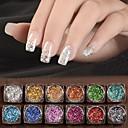 baratos Glitter para Unhas-12 pcs Glitter & Poudre / Paetês Glitters / Clássico Diário