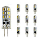 abordables Luces LED de 2 Pin-10pcs 1.5W 300lm G4 Luces LED de Doble Pin Tubo 24 Cuentas LED SMD 3014 Regulable Decorativa Verde Azul Rojo 12V