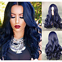 cheap Fusion Hair Extensions-Synthetic Wig Body Wave Synthetic Hair Blue Wig Women's Capless