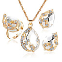cheap Jewelry Sets-Women's Crystal / Synthetic Sapphire / Synthetic Emerald Jewelry Set - Crystal, Rhinestone, Gold Plated Include Rings Set Green / Blue / White / White For Wedding / Party / Synthetic Diamond