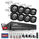 olcso DVR készlet-sannce® 8ch 720p ahd dvr készletek 8db 720p ir éjjellátó kültéri CCTV kamera otthoni biztonsági rendszer beépített 1tb hdd