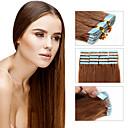 olcso Felragasztható póthajak-Febay Ragasztható Human Hair Extensions Egyenes Emberi haj tincsek Emberi haj Női - Eperszőke Sötét aranybarna Mogyoróbarna
