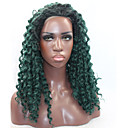 cheap Human Hair Wigs-Synthetic Lace Front Wig Kinky Curly Synthetic Hair Natural Hairline Green Wig Women's Lace Front