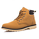 זול מגפיים לגברים-בגדי ריקוד גברים נעליים PU חורף נוחות / מגפיי קרב מגפיים שחור / צהוב / כחול