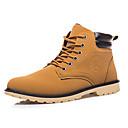 billige Sneakers til herrer-Herre Combat-boots PU Vinter Komfort Støvler Svart / Gul / Blå