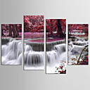 cheap Stretched Canvas Prints-Landscape Floral/Botanical Modern Realism, Four Panels Canvas Any Shape Print Wall Decor Home Decoration