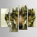 cheap Stretched Canvas Prints-Abstract Animal Modern European Style,Four Panels Canvas Any Shape Print Wall Decor For Home Decoration