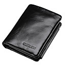cheap Wallets-Men's Bags Cowhide Wallet / Tri-fold Ruffles Solid Colored Black